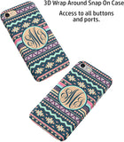 Navy Aztec Tribal Custom Monogram iPhone Case Cover 5/5S/SE/6/6S 6/6S 7 8 Plus X XS 3D Wrap Around Case (iPhone 5/5S/SE)