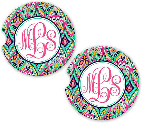 BrownInnovativeMedia Aztec Tribal Monogram Mint Jewels Sandstone Cup Holder Matching Coaster Set