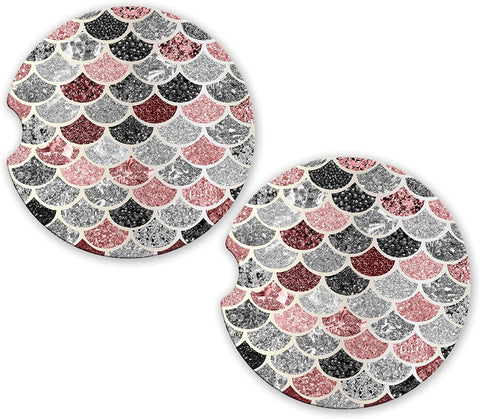 BrownInnovativeMedia Pink Silver Mermaid Scales Glitter Sandstone Car Cup Holder Matching Coaster Set