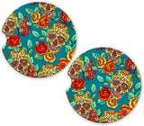 Teal Sugar Skulls Sandstone Car Cup Holder Matching Coaster Set