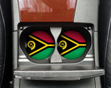 Vanuatu Flag Custom Car Coasters Cup Holder Matching Coaster Set