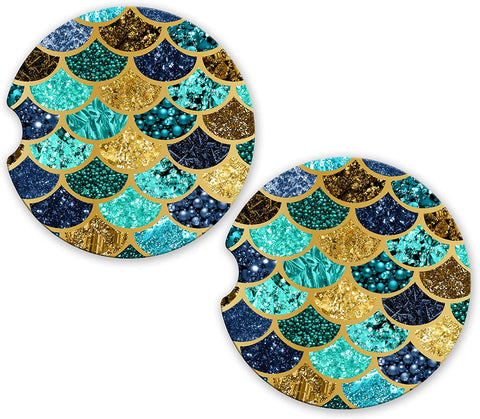 BrownInnovativeMedia Gold Navy Teal Mermaid Scales Sandstone Car Cup Holder Matching Coaster Set