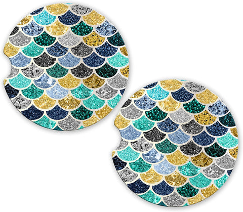 BrownInnovativeMedia Blue Gold Silver Teal Mermaid Glitter Sandstone Car Cup Holder Matching Coaster Set