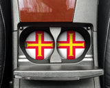 Guernsey Flag Custom Car Coasters Cup Holder Matching Coaster Set