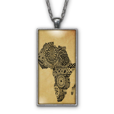 Africa Tribal Art Map Pendant Necklace Jewelry