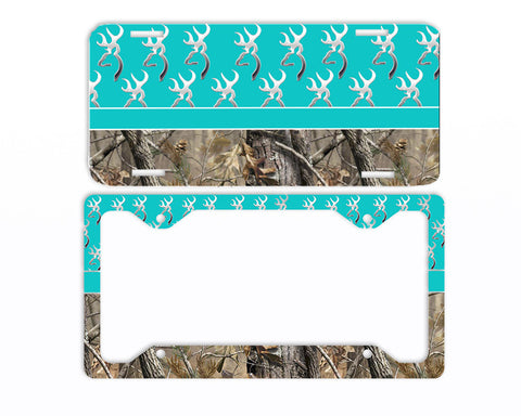 Aqua Browning Camo License Plate Frame Car Tag Country Hunting