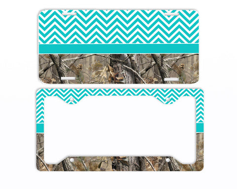 Aqua Chevron Camo License Plate Frame Car Tag Country Hunting