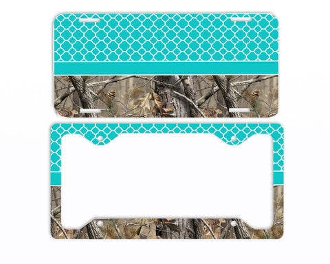 Aqua Trellis Camo License Plate Frame Car Tag Country Hunting