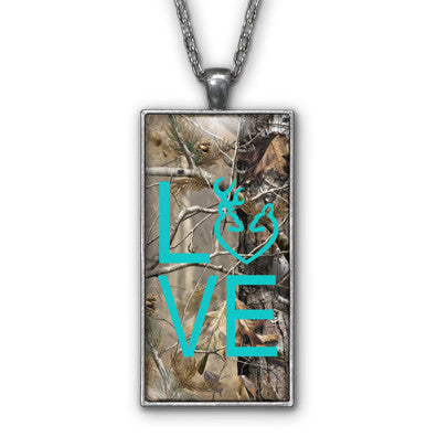 Aqua Camo Love Browning Pendant Necklace Jewelry