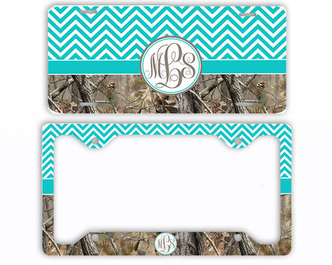 Aqua Chevron Camo Monogrammed License Plate Frame Car Tag Country Hunting Deer Personalized