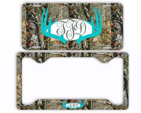 Aqua Antlers Camo Monogram License Plate Frame Car Tag Country Hunting Deer