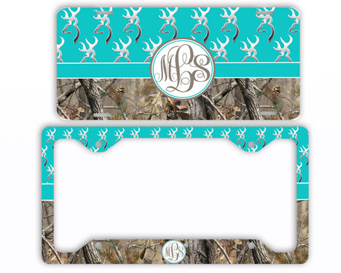 Aqua Buck Head Camo Monogrammed License Plate Frame Car Tag Country Hunting Deer Personalized