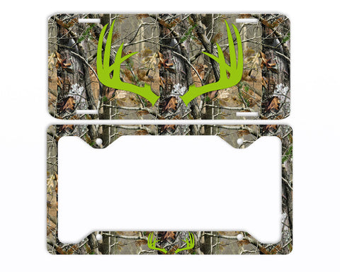 Apple Green Antlers Camo Deer License Plate Frame Car Tag Country Hunting