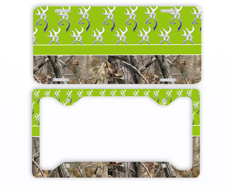 Apple Green Buckhead Camo Deer License Plate Frame Car Tag Country Hunting