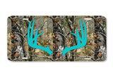 Aqua Antlers Camo Deer License Plate Frame Car Tag Country Hunting