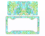 Aqua Pink Mint Ocean Pastels Paisley Lilly Inspired Blue Heaven License Plate Frame Preppy Car Tag
