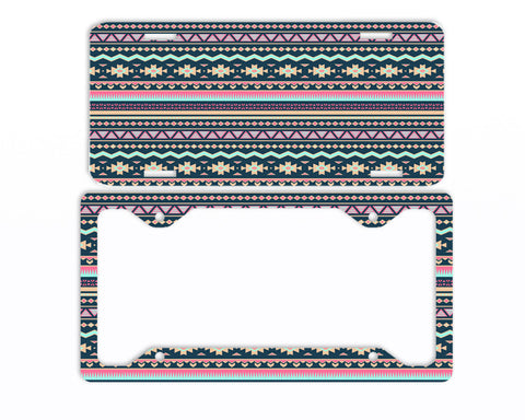 Aztec Tribal Navy License Plate Frame Car Tag