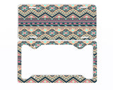Aztec Tribal Tan Coral Navy License Plate Frame Car Tag
