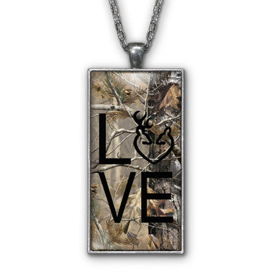 Black Camo Love Browning Pendant Necklace Jewelry