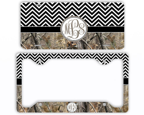 Black Chevron Camo Monogrammed License Plate Frame Car Tag Country Hunting Deer Personalized