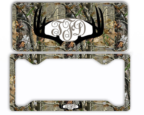Black Antlers Camo Monogram License Plate Frame Car Tag Country Hunting Deer