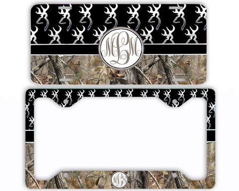Black Buck Head Camo Monogrammed License Plate Frame Car Tag Country Hunting Deer Personalized