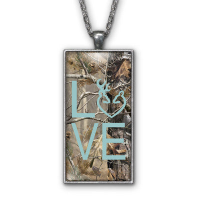 Blue Camo Love Browning Pendant Necklace Jewelry