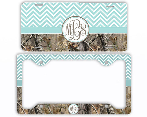 Blue Chevron Camo Monogrammed License Plate Frame Car Tag Country Hunting Deer Personalized