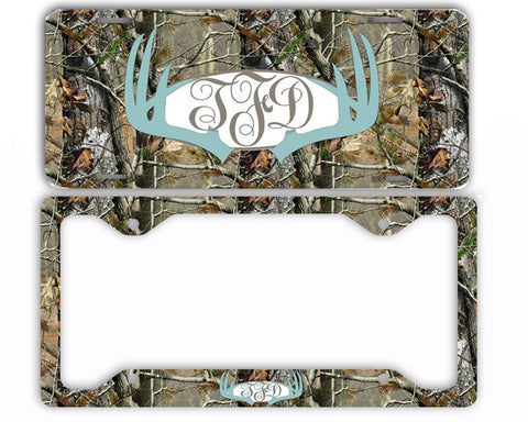 Blue Antlers Camo Monogram License Plate Frame Car Tag Country Hunting Deer