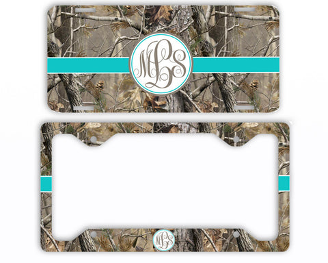 Aqua Ribbon Camo Monogrammed License Plate Frame Car Tag Country Hunting Deer Personalized