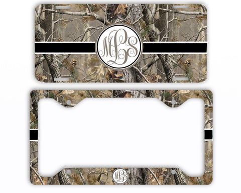 Black Ribbon Camo Monogrammed License Plate Frame Car Tag Country Hunting Deer Personalized