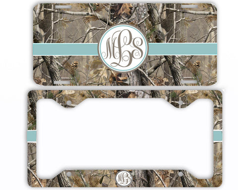 Blue Ribbon Camo Monogrammed License Plate Frame Car Tag Country Hunting Deer Personalized