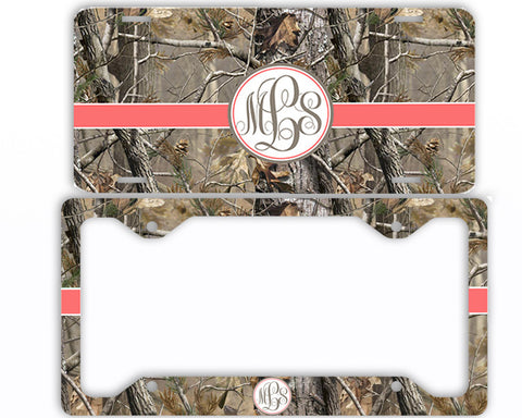 Coral Ribbon Camo Monogrammed License Plate Frame Car Tag Country Hunting Deer Personalized