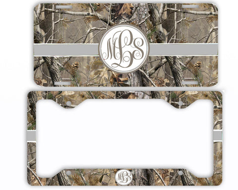 Brown Ribbon Camo Monogrammed License Plate Frame Car Tag Country Hunting Deer Personalized