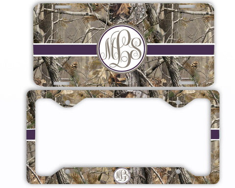 Purple Ribbon Camo Monogrammed License Plate Frame Car Tag Country Hunting Deer Personalized