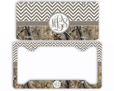 Brown Chevron Camo Monogrammed License Plate Frame Car Tag Country Hunting Deer Personalized