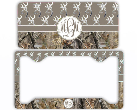 Brown Buck Head Camo Monogrammed License Plate Frame Car Tag Country Hunting Deer Personalized