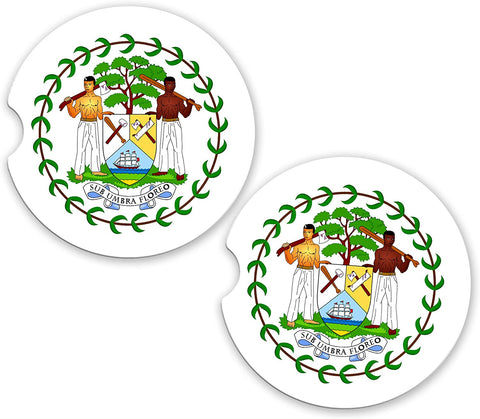 Belize World Flag Coat Of Arms Sandstone Cup Holder Matching Coaster Set
