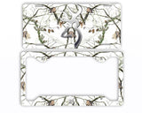 Browning Buck Head Deer Snow White Camo License Plate Frame Car Tag Hunting