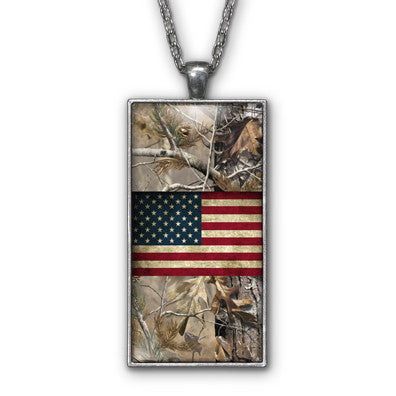 Camo USA Distressed Flag Pendant Necklace Jewelry