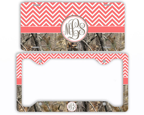 Coral Chevron Camo Monogrammed License Plate Frame Car Tag Country Hunting Deer Personalized