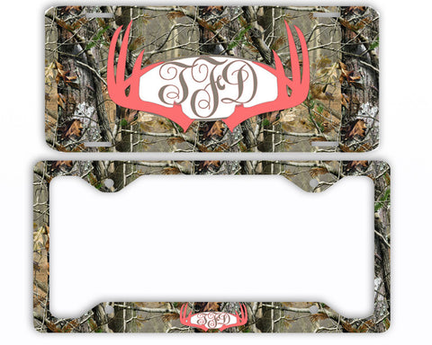 Coral Antlers Camo Monogram License Plate Frame Car Tag Country Hunting Deer