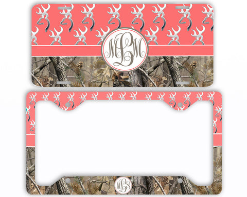 Coral Buck Head Camo Monogrammed License Plate Frame Car Tag Country Hunting Deer Personalized