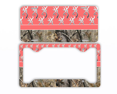 Coral Browning Camo License Plate Frame Car Tag Country Hunting