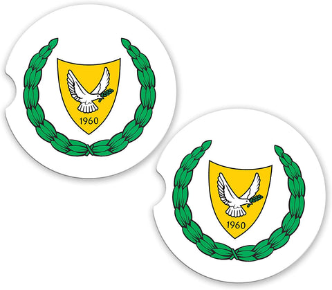 Cyprus World Flag Coat Of Arms Sandstone Car Cup Holder Matching Coaster Set