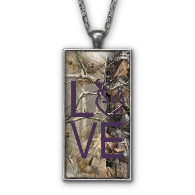 Dark Purple Camo Love Browning Pendant Necklace Jewelry