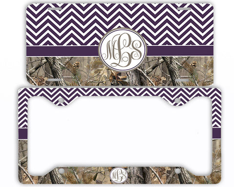 Purple Chevron Camo Monogrammed License Plate Frame Car Tag Country Hunting Deer Personalized