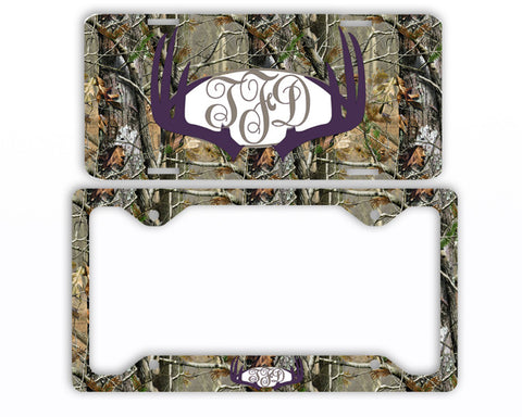 Purple Antlers Camo Monogram License Plate Frame Car Tag Country Hunting Deer