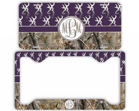 Purple Buck Head Camo Monogrammed License Plate Frame Car Tag Country Hunting Deer Personalized