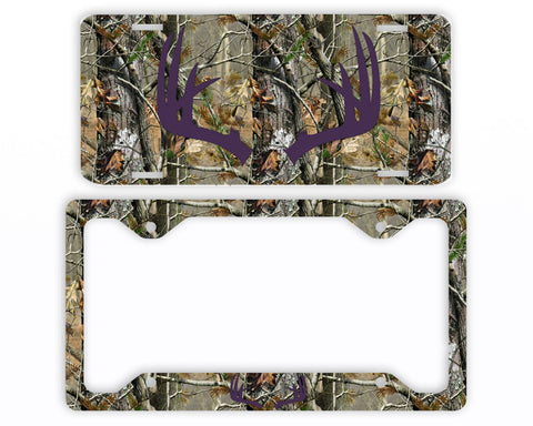 Dark Purple Antlers Camo Deer License Plate Frame Car Tag Country Hunting